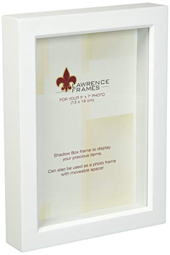 - Lawrence Frames 795257 White Wood Treasure Box Shadow Box Picture Frame, 5 by 7-Inch