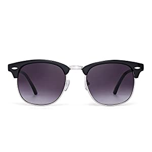 Retro Clubmaster Sunglasses Semi Rimless Browline Eyeglasses for Women Men