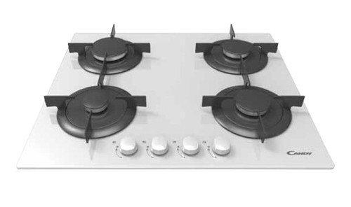 Color blanco Integrado, Encimera de gas, Vidrio, Negro, Blanco, 1000 W, 5,1 cm Placa Candy CVG 64 SPB Integrado Encimera de gas Negro