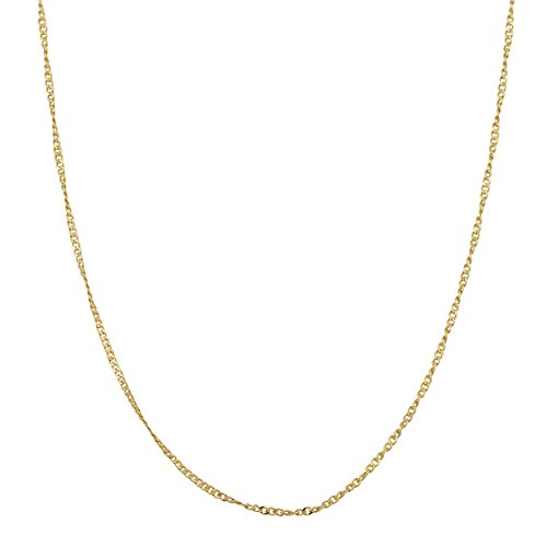 - Yellow Gold Over Sterling Silver 1mm Twisted Curb Chain (18 inch)