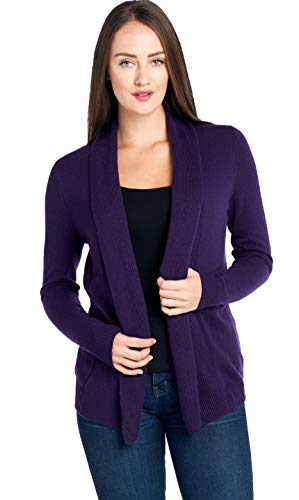Mariyaab Women's 100% Cashmere Soft Long Sleeve Front Drape Open Cardigan (JB1677, Indigo, L)