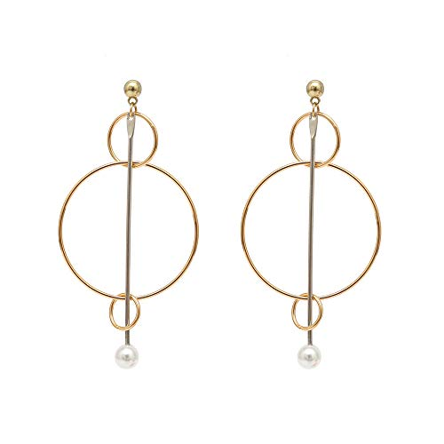 DIDA Pearl Hoop Earrings Round Cross Earrings