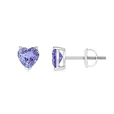 Angara Three Prong Heart Tanzanite Basket Stud Earrings in Platinum RvAtuG
