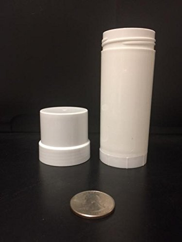 (12) Empty WHITE Plastic Deodorant Containers - 2.5 Oz Cylinders