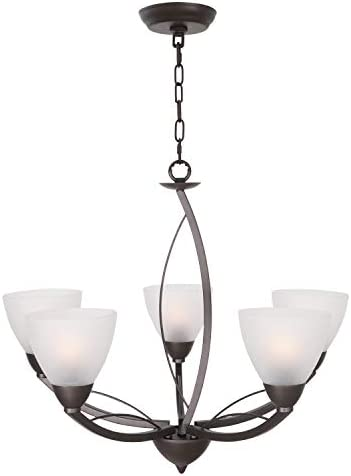 Lucidce Modern Chandelier 5-Light Lighting Fixtures Ceiling Hanging Lights Alabaster Glass Shades Oil Rubbed Bronze Pendant Light