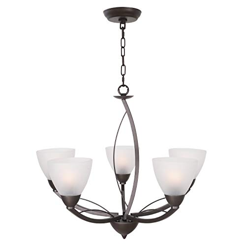 Modern Chandelier Pendant Light Finished with Frosted Glass Ceiling Light Fixture 5-Light Oil Rubbed Bronze for Living Room Dining Room by Lucidce