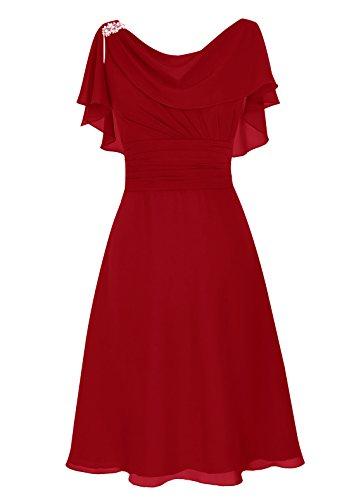 Robe Au Longueur Genou Foncé Du Cou Col Mariée De D'honneur Ras Rouge Mère Demoidelle Dresstells 0pS4qgwZ4