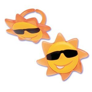 Summer Sunshine Sunny Face Sun Cupcake Rings - 24 pcs -