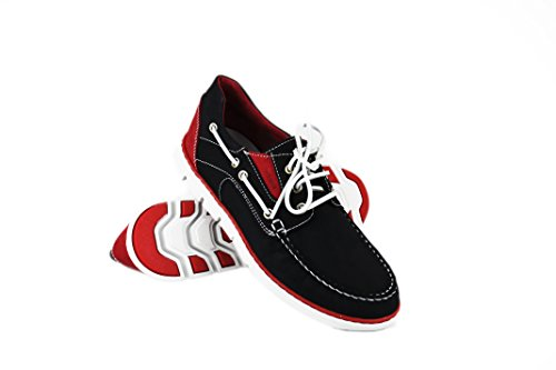 ZERIMAR Nautical Leather Shoe Flexible Rubber Sole 100% Premium Leather Design marking Fashion Leather Color Navy Blue Red Navy Blue Red FWrgvkAC