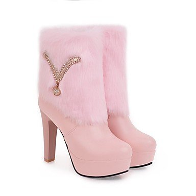 Polipiel Mujer Rhinestone Moda Chunky CN42 Redonda De Para 5 8 Talón EU41 Botas Botines Zapatos US9 5 Puntera 10 RTRY Botas UK7 Botines Vestimenta Rosa Rubor Invierno Casual Ew6xI8t8pq