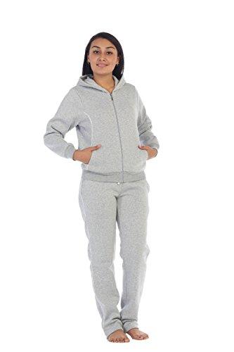 unik Women Fleece Sweatsuit Set, Light Grey Size Small