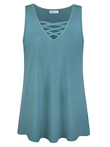 Plus Size Women's Summer Sleeveless Criss Cross Casual Tank Basic Tops (Teal Green, 1X)