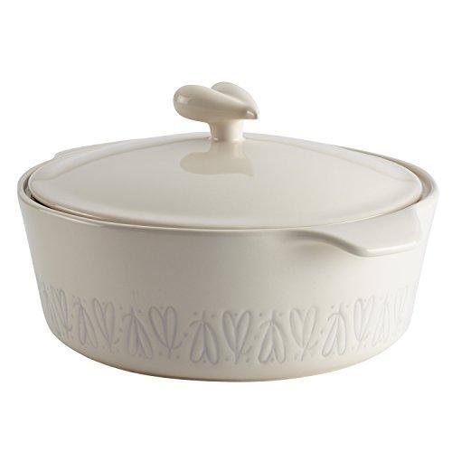 Ayesha Curry 46945 Stoneware Round Casseroles, Small, Cream