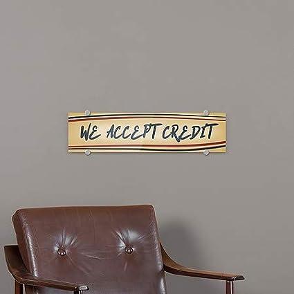 We Accept Credit CGSignLab Nostalgia Stripes Premium Brushed Aluminum Sign 5-Pack 24x6
