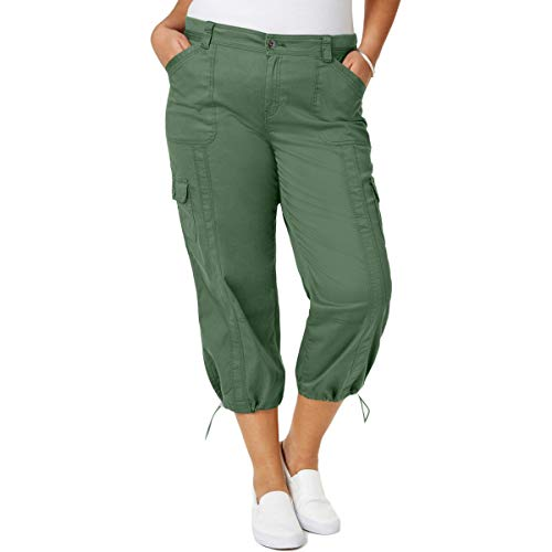 Style & Co. Womens Plus Mid Rise Cargo Capri Pants Green - Co Pant Woman Wide Style & Leg