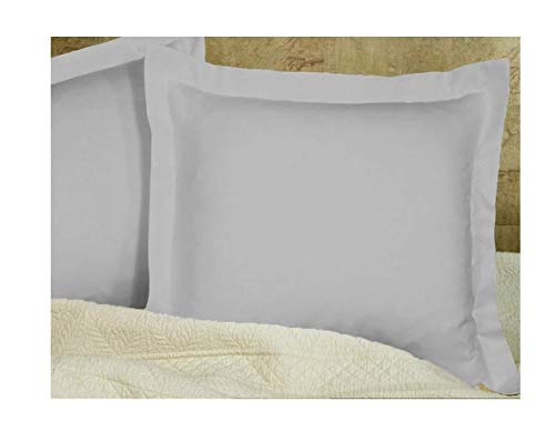Silver Grey Pillow Shams Set of 2 - Luxury 580 Thread Count 100% Egyptian Cotton Cushion Cover Euro Size Decorative Pillow Cover Tailored Poplin European Pillow Sham (2 Pack, Euro 26x26) - Pillow Sham Cover