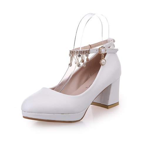 Y Al AGECC Alto Ásperos Femenina Poco Zapatos Mesa PU Tacones Profundos Zapatos White cm De Agua De Hebillas Resistente Y Tacón Alto Dulces Tacón 6 qrUHq7
