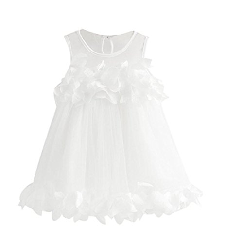 Sweet Lace Vest Petal Dress Baby Girls Princess Dress Pageant Sleeveless Print Dresses (4T, White)