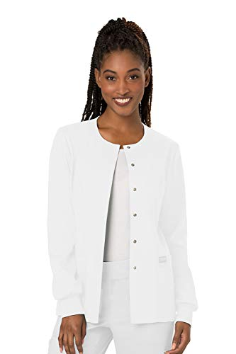 Cherokee Women's Snap Front Warm-up Jacket, White, X-Small