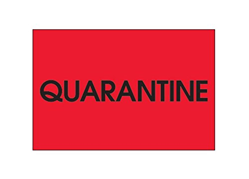 RetailSource DL1138x1 2 x 3 -Quarantine, (Fluorescent Red) Labels, 2.25' Height, 5' Length, 5' Width (Pack of 500) 2.25 Height 5 Length 5 Width (Pack of 500) RetailSource Ltd