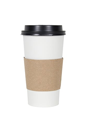 CucinaPrime White Paper Coffee Hot Cups with Black Travel Lids and Sleeves - 20 Ounce, 100 (Black Hot Cup Lid)