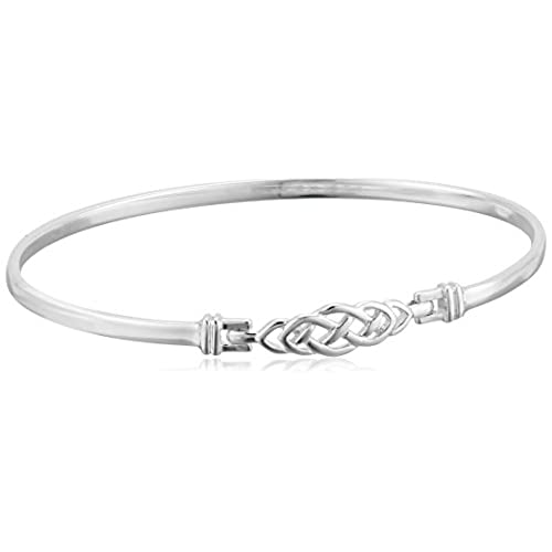 Sterling Silver Ladies Celtic Style Bangle With Safety Catch 63cO65hz