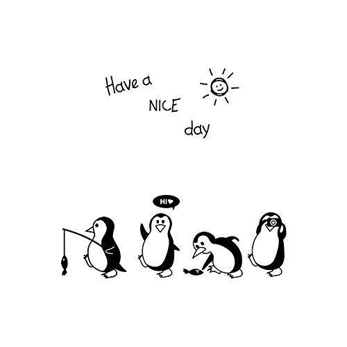 Window Decal Stickers Clings Wall Stickers Have a Nice Day Cute Letters Penguin Sticker Fridge Kitchen Fridge Wall Stickers Art Home Decoration Art Mural (Black)