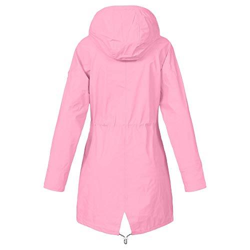 pour imperméable rose veste vent Vestes d'extérieur solide imperméable imperméable Parka coupe dames confortable manteau Ihengh capuche Manteau EH9DI2W