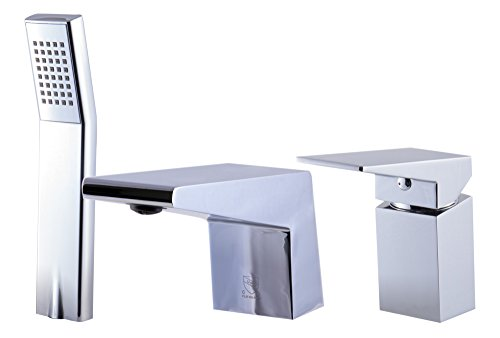 (ALFI brand AB2464-PC Polished Chrome Deck Mounted 3 Hole Tub Filler & Shower, Silver)