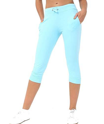 Rimi Hanger Islander Fashions Womens 3/4 Drawstring Cropped Bottom Capri Ladies Plain Jog Stretchy Short Pants Aqua US 6
