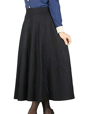 Etecredpow Women's Fashion Pocket Checkered Big Hem Wool-Blended Long Skirt