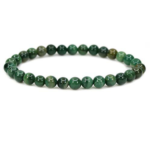 Natural African Serpentine Gemstone 6mm Round Beads Stretch Bracelet 7