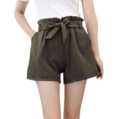(Duseedik Women's Short Pants Summer Fit Solid High Elastic Waist A-Line Casual Tie up Bow Belt Shorts Pants Green)