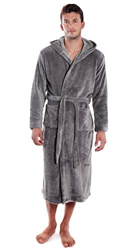Verabella Womens Robe Soft Flannel Hooded Bath Robes,Grey,L-XL Men/XL-2XL Women