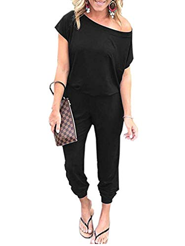 Famulily Womens Black Jumpsuit Summer Short Sleeve Sexy Off Shoulder Elastic Waist Long Pants Rompers with Pockets X-Large (Jumper Long Black)