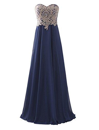 Erosebridal Floor Length Strapless Prom Dress With Gold Embroidery Navy US 10 (Prom Corset Dress)