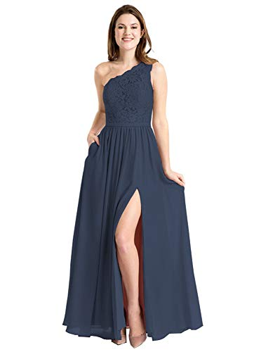 - Chiffon Prom Dresses Plus Size Lace Bodice Long Wedding Guest Dress with Pockets Size 20W Navy Blue