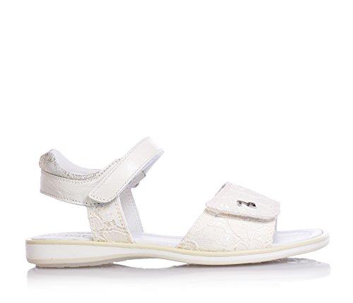NERO GIARDINI - Sandale blanche en cuir et dentelle, avec velcro, fille,filles,enfant
