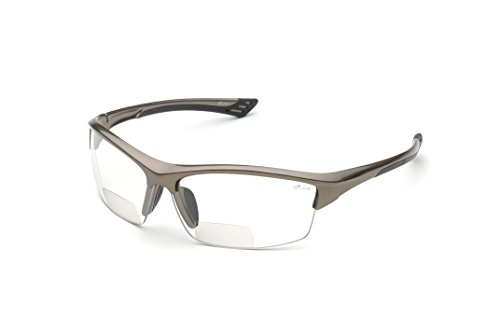 Elvex RX-350C 1.5 Diopter Bifocal Safety Glasses, Metallic Brown Frame/Clear - Lens Semi Full