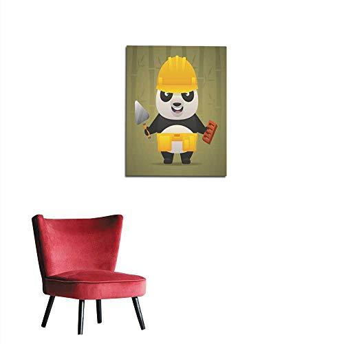 longbuyer Mural Decoration Panda Character Builder in Helmet Mural 16