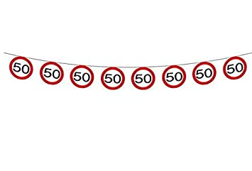Wimpelkette Girlande Verkehrsschild Zahl 50 Geburtstag Deko Party