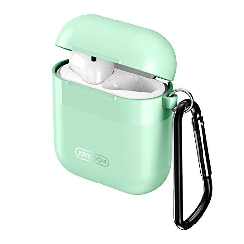 Joyroom AirPods Case Cover, Premium Protective Skin for Apple AirPods Charging Case (Also Fit Latest Model AirPods 2), with Keychain, Cleaning Brush, Anti-Lost Silicone AirPods Strap - Mint Green