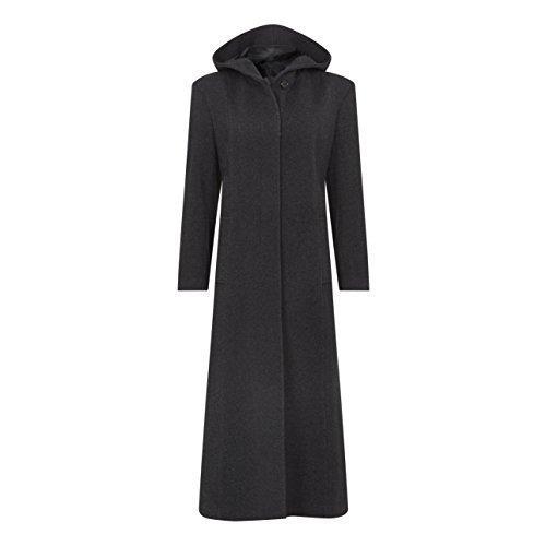 Femmes Chaud Gris La cachemire Crme Jacket Hiver Femmes manteau laine et capuche longue UwUXaqTtx