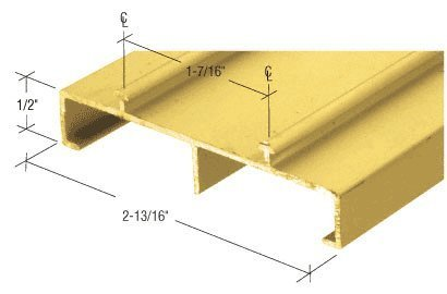 Satin Gold Anodized 2-13/16 Deep Mirror Door Track - 12 Feet Long by C.R. Laurence Deep Mirror Door Track