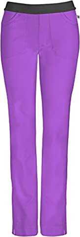 Infinity by Cherokee 1124 Lowrise Slim Elastic Waist Pull-On Pant- Wild Orchid- Large - Surf Scrubs