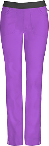 Infinity by Cherokee 1124 Lowrise Slim Elastic Waist Pull-On Pant- Wild Orchid- X-Large (Low Rise Elastic Waist Pant)