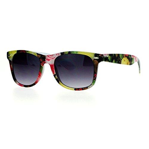 Color Floral Flower Print Sunglasses Classic Square Horn Rim Plastic Frame - Rim Plastic