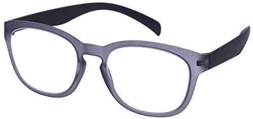2015 Eyeglasses - Edge I-Wear High Quality Lightweight Round Horned Rim Keyhole Bridge Readers for Men/Women +2.00 540967SF-2.00-4(M.CLGY) Reading Glasses