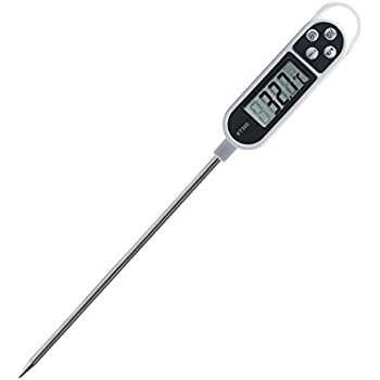 ICEWOLF Digital Probe Cooking Meat Thermometer with Long Probe for Food, Meat, Candy and Bath Water, White