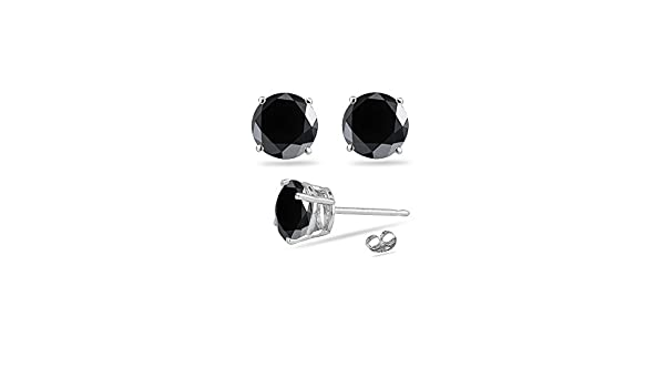 0.10-0.13 1//9 Cts of 2.50-3.00 mm AAA Round Rose Cut Black Diamond Mens Stud Earring in 14K White Gold